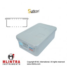 Surticon™ Sterile Container 3/4 Basic Safe Model Grey Perforated Lid and Bottom Stainless Steel - Aluminium, Size 465 x 280 x 100 mm