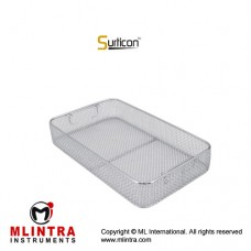 Surticon™ Sterile 3/4 Wire Mesh Basket Without Lid Stainless Steel, Size 405 x 250 x 50 mm