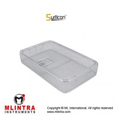 Surticon™ Sterile 3/4 Wire Mesh Basket With Lid Stainless Steel, Size 405 x 250 x 50 mm