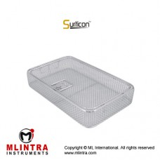 Surticon™ Sterile 3/4 Wire Mesh Basket With Lid Stainless Steel, Size 405 x 250 x 30 mm
