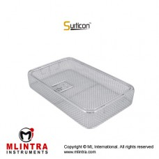 Surticon™ Sterile 3/4 Wire Mesh Basket With Lid Stainless Steel, Size 405 x 250 x 70 mm