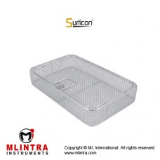 Surticon™ Sterile 3/4 Wire Mesh Basket With Lid Stainless Steel, Size 405 x 250 x 100 mm