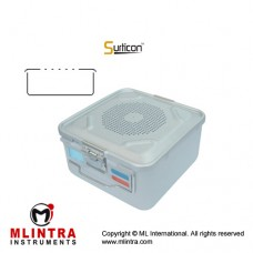 Surticon™ Sterile Container 1/2 Basic Model Blue Perforated Lid Stainless Steel - Aluminium, Size 285 x 280 x 150 mm