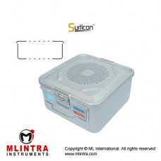 Surticon™ Sterile Container 1/2 Basic Model Black Perforated Lid and Bottom Stainless Steel - Aluminium, Size 285 x 280 x 100 mm