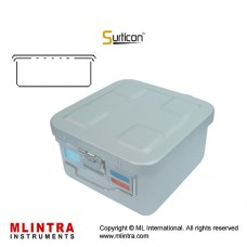 Surticon™ Sterile Container 1/2 Basic Safe Model Red Perforated Lid Stainless Steel - Aluminium, Size 285 x 280 x 200 mm
