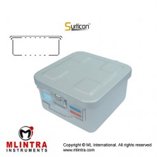 Surticon™ Sterile Container 1/2 Basic Safe Model Grey Perforated Lid and Bottom Stainless Steel - Aluminium, Size 285 x 280 x 150 mm