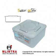 Surticon™ Sterile Container 1/2 Bio-Barrier Model Grey Perforated Lid Stainless Steel - Aluminium, Size 285 x 280 x 155 mm
