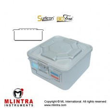 Surticon™ Sterile Container 1/2 Bio-Barrier Model Yellow Perforated Lid Stainless Steel - Aluminium, Size 285 x 280 x 205 mm