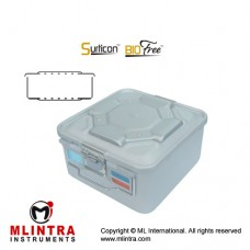 Surticon™ Sterile Container 1/2 Bio-Barrier Model Grey Perforated Lid and Bottom Stainless Steel - Aluminium, Size 285 x 280 x 295 mm