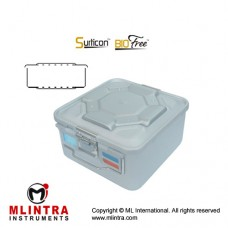 Surticon™ Sterile Container 1/2 Bio-Barrier Model Blue Perforated Lid and Bottom Stainless Steel - Aluminium, Size 285 x 280 x 135 mm