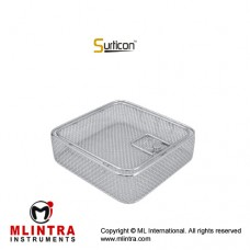 Surticon™ Sterile 1/2 Wire Mesh Basket With Lid Stainless Steel, Size 255 x 250 x 50 mm