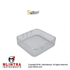 Surticon™ Sterile 1/2 Wire Mesh Basket Without Lid Stainless Steel, Size 255 x 250 x 50 mm