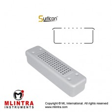 Surticon™ Sterile Container Scopy Model Yellow Perforated Lid and Bottom Stainless Steel - Aluminium, Size 250 x 60 x 50 mm